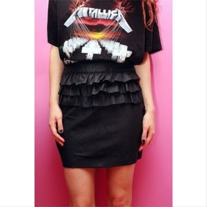 Skirts - Faux Leather Ruffle Skirt